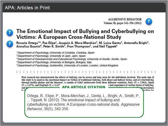 2.3.7 APA: Articles in Print Here's the first page of an article about bullying, and the APA citation for it. Most of the information for the citation can be found right here on this page.