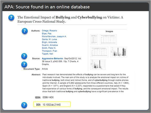 2.3.8 APA: Source found in an online database When we find an article in an online database, we're able to locate almost all of the citation information in the database record for that article.