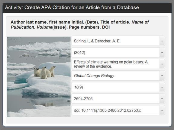 2.3.12 Activity: Create APA Citation Identifying the parts of a citation for an article can be tricky so let's practice.
