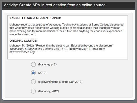 2.4.6 Activity: Create APA in-text citation Let's practice.