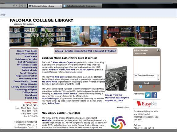 2.5.1 Video: EasyBib From the Palomar College Library homepage, select EasyBib on the right side of the page.
