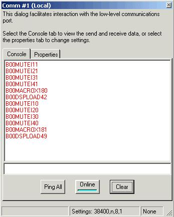 Figure 18. The console window. Repeat the process for the Volume Up and Volume Down buttons if you have assigned commands to Macro s 183 and 184.