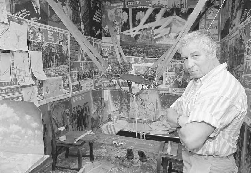106 POP CULTURE RUSSIA! Artist Ilya Kabakov in one of the ten rooms of his art installation The Man Who Flew into Space at a SoHo art gallery in New York in August 1988.