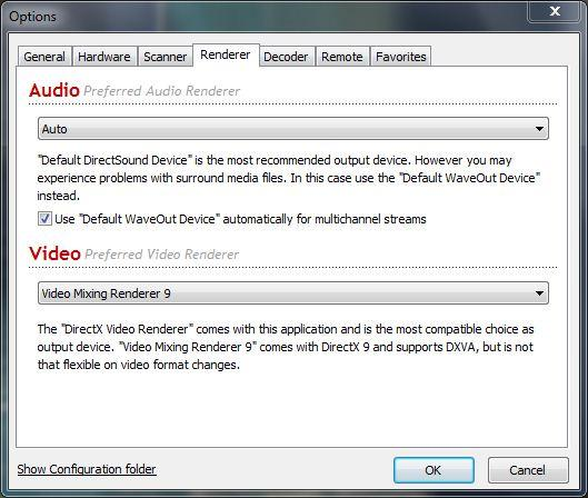 4. Renderer If problems occur with the playback of sound and/or video, you will need to open the context menu by right clicking the mouse and selecting Options followed by the Renderer tab.