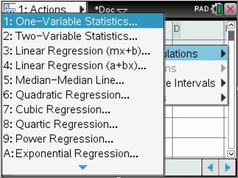 TI-Inspire manual 11 Choose 1: One-Variable Statistics Step 2) leave num