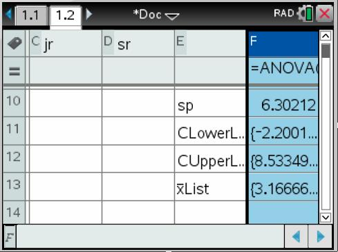 TI-Inspire manual 43 A source table can also be constructed from the information above The Within data row is filled with