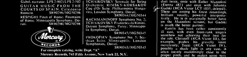 SR90346/ MG50346 TCHAIKOVSKY Serenade for String Orchestra; RIMSKY-KORSAKOV Coq d'or Suite. Philharmonia Hungarica, London Symphony, Dorati. SR90344 / MG 50344 RACHMANINOFF Symphony No.