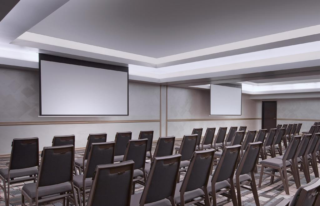 23m The Lagoon Room features three retractable widescreen format projection screens (2545mm x 1430mm), installed high performance Panasonic projectors and a versatile vision patching