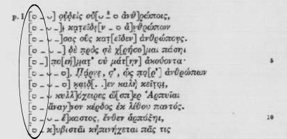 1. Metrical Breve 2692 This character represents a short syllable. Example 1 Euripides Trag., Bacchae Diggle, J., Euripidis fabulae, vol. 3 (Clarendon Press, Oxford, 1994) 323 2.