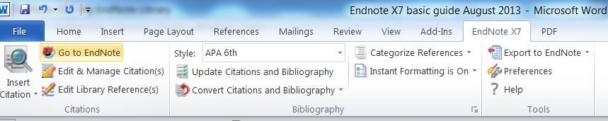 3. At the point in the document where you need to enter a reference, click on Go to EndNote from ` the Word ribbon. 4. The EndNote library then opens up.