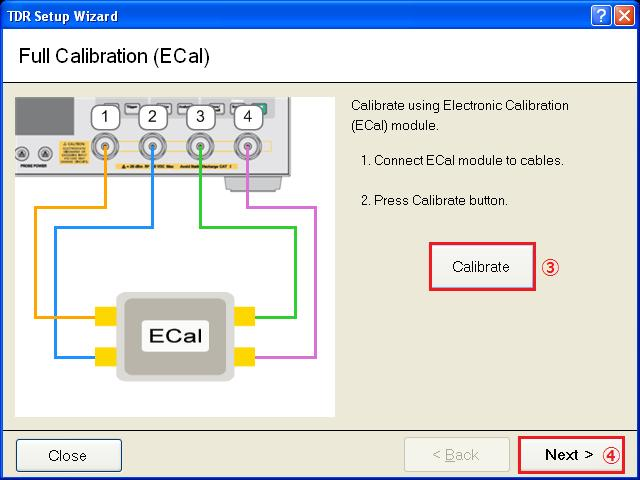 5.4. Calibration and Adjustment 5.4.1. Time Domain Calibration 1. Connect the cables and ECal module to the E5071C. 2. Press Channel Next key to select Channel1. 3. Open Setup tab (item1). 4.
