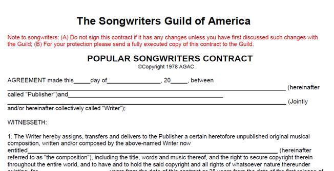 The Songwriters Guild of America The Songwriters Guild of America Contract Weighted heavily in
