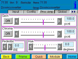 The Proc Amp menu shown below allows you to adjust the following video processing parameters for the signal: Gain adjust the percentage of overall gain (luminance and chrominance).