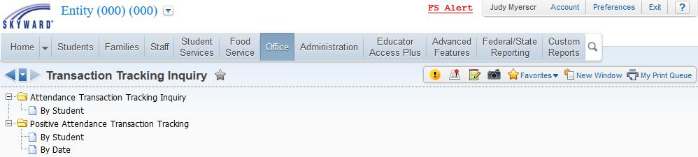 Positive Attendance Transaction Tracking Navigate to Student Management > Office > Attendance, and select