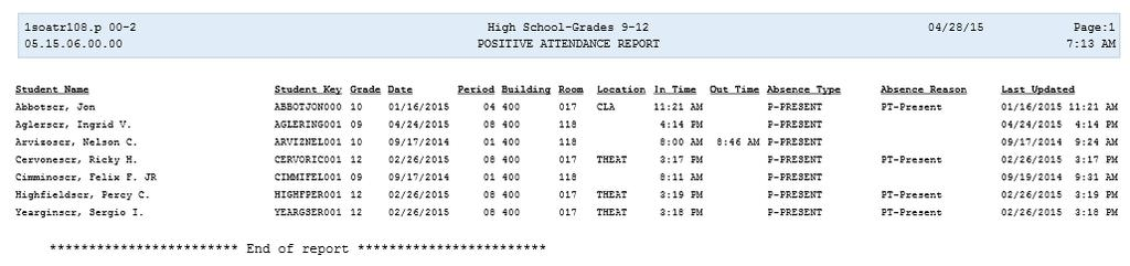 Reporting Generating this report can assist in reviewing attendance taken via Positive Attendance.