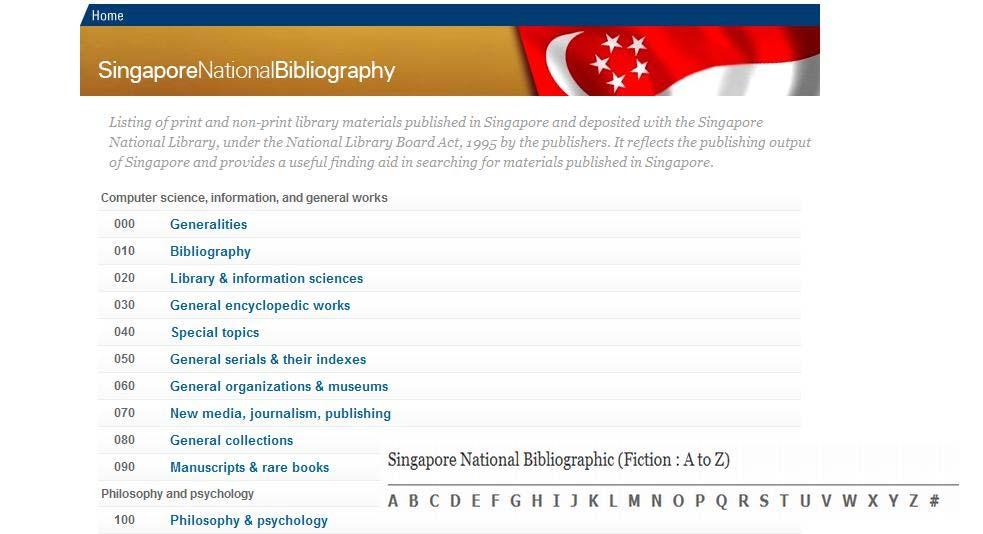 Figure 7 Example of DDC extension in a New Zealand NB record of a New Zealand novel Singapore Singapore National Bibliography (SNB) The index of the Singapore NB is arranged by the DDC Second Summary