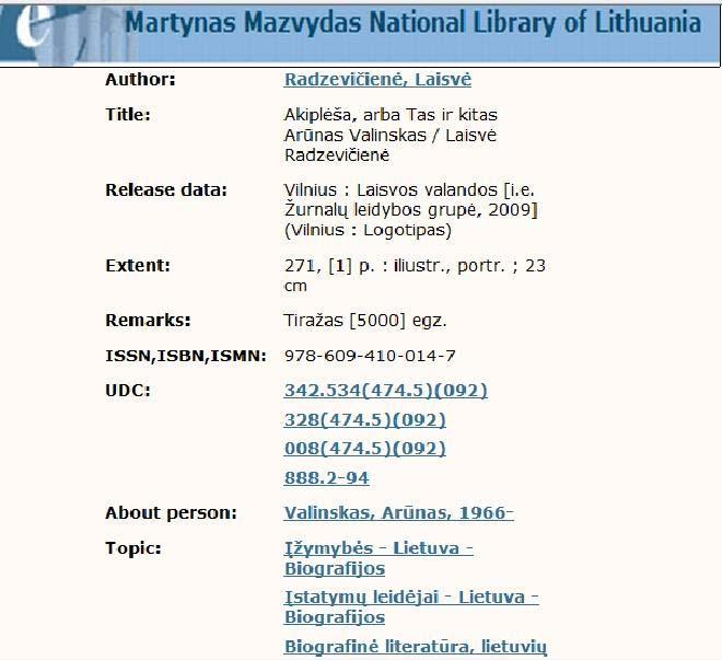 Figure 32 Example of subject headings applied in the NB of Lithuania Namibia Namibia National