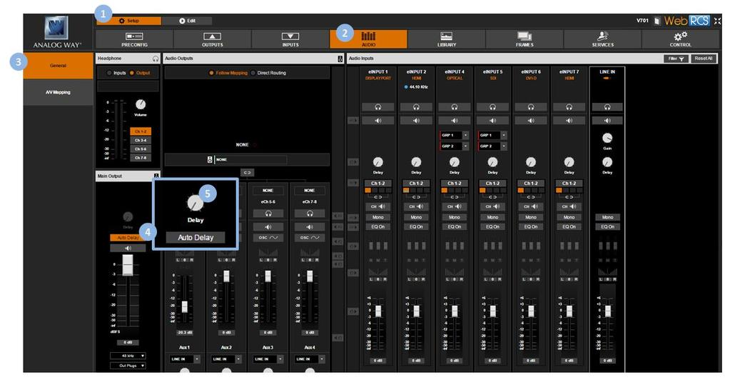 To control the volume (master volume): 1. Enter the AUDIO menu on the interface. 2. Select Output Settings to set up the audio output. 3. Select Master Volume to adjust the volume of the output audio.
