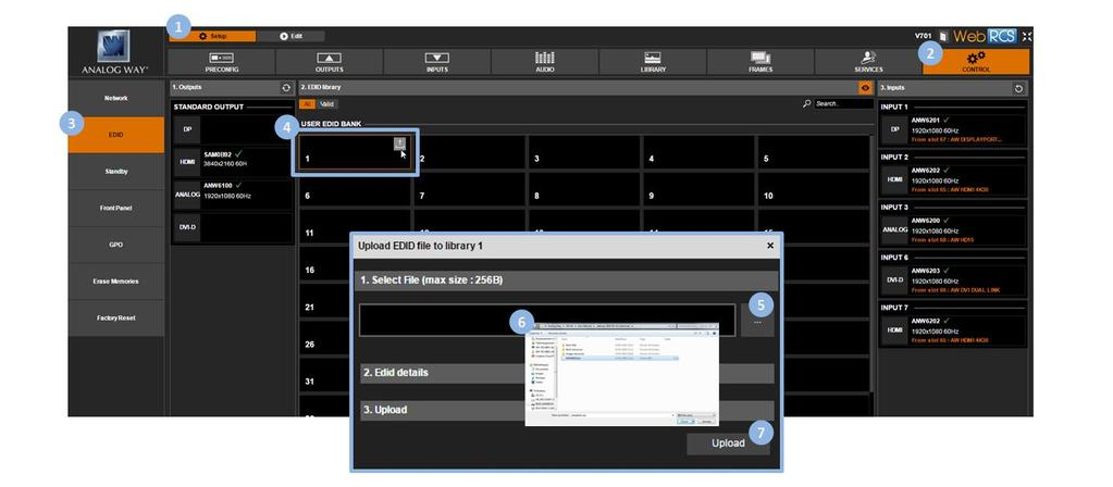 To save the EDID of an output: 1. Enter the CUSTOMIZE menu in the interface. 2. Scroll down and select EDID Manager to access the EDID management menu. 3.