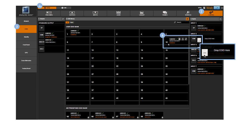 To reset the EDID of an input: 1. Enter the CUSTOMIZE menu in the interface. 2. Scroll down and select EDID Manager to access the EDID management menu. 3.