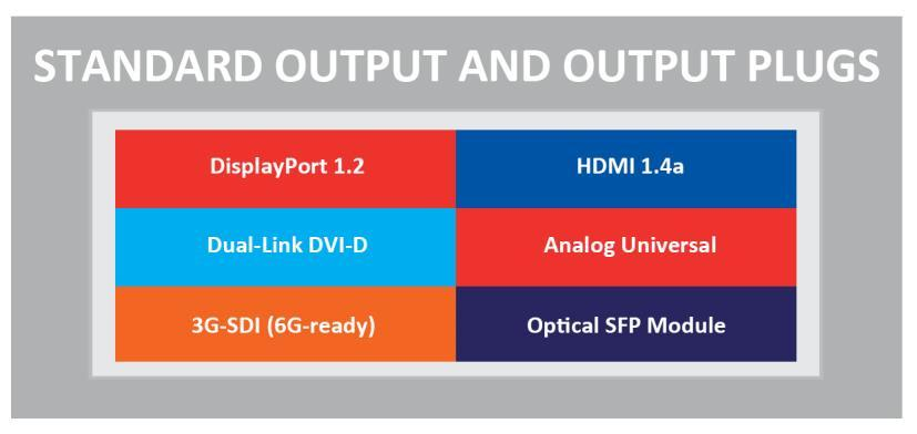 5 Output management 5.1 What is an output? An output is a group of plugs that deliver the same video content under various signal types.