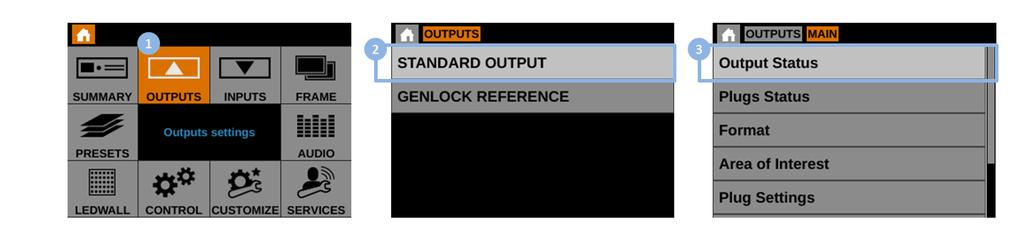 To check the status of your outputs: 1. Enter the OUTPUTS menu on the interface. 2. Select STANDARD OUTPUT to access the standard output setup menu. 3.