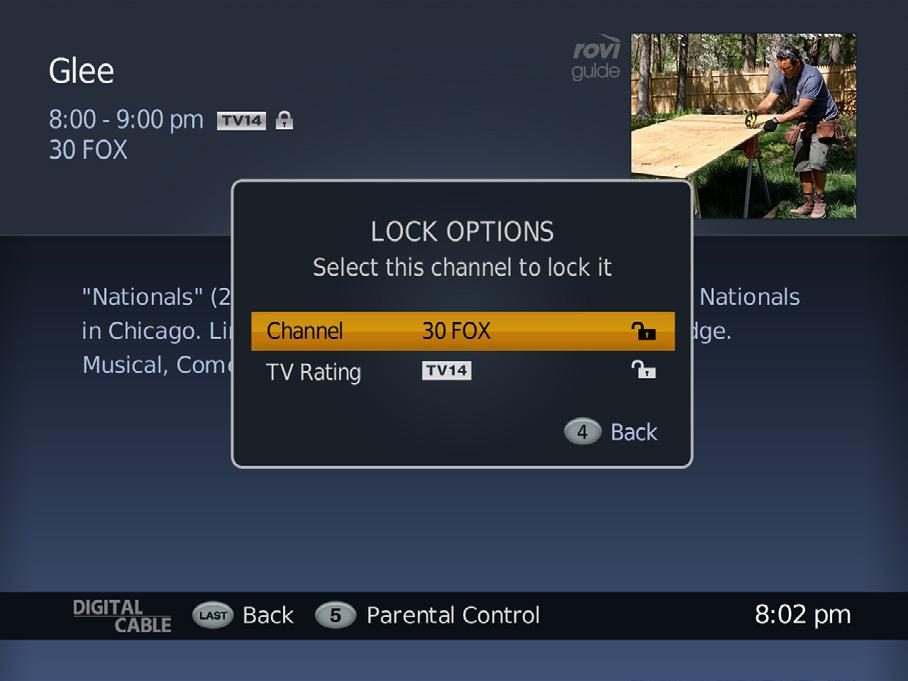 Parental Controls - How to Lock Channels There are two ways to lock channels: from the Parental Control option in Settings and from Program Information.