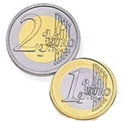 The front side of euro coins. A. is the same for all countries in the European Union B. has pictures of famous people and buildings C.