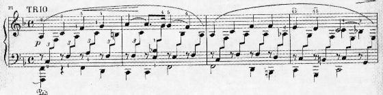 #10, Trio, mm. 21-24) The motive in the trio section is lyrical and could be used as also being a part of the accompaniment (Ex. #10).