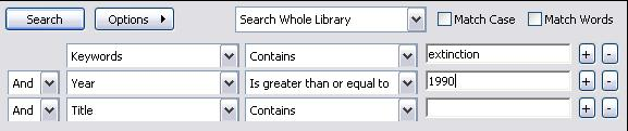 Select Is greater than or equal to from the Contains drop-down menu Enter 2000 in the search box The search example below is for references containing the word extinction, published since 1990: In