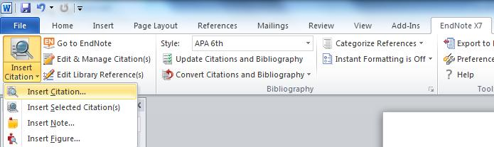 Insert citation will open a window where you can Search EndNote for the reference you require. Highlight the appropriate reference then click on Insert.