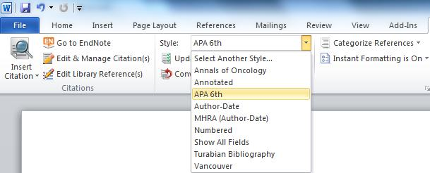Alternatively: Click on the Go to EndNote option Highlight your chosen reference from within your EndNote library Click on the Insert Citation button Save your document.