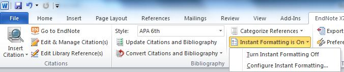 Once you are ready to create your bibliography, click on Update Citations and Bibliography from the middle bibliography tab.