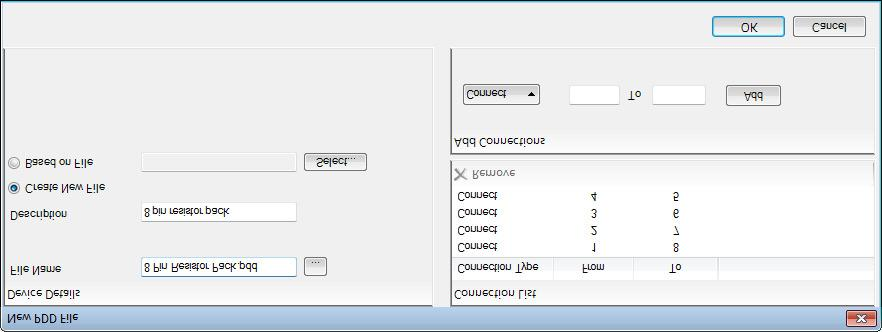 Figure 10: Creating a new PDD file To create a new PDD file, enter a filename and (optionally) some description text and then add connections between pins.