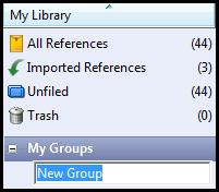 Organizing References Use Groups to organize your EndNote references by topic or project. By default, all new records will be imported into the Unfiled group.