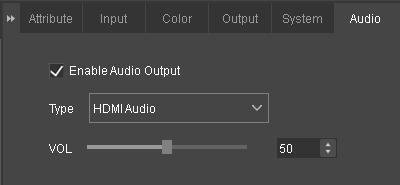 7.5.6 Audio Settings Set whether to output the audio signal; There are two audio types including HDMI Audio and External Audio ; Adjust the volume by clicking and dragging the slider at the right
