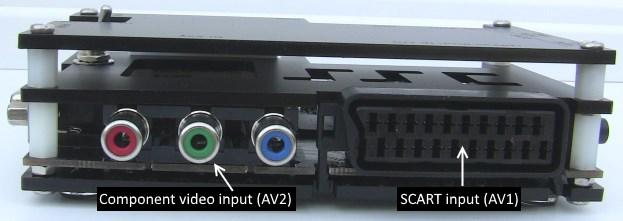 from the side with the video output connector.