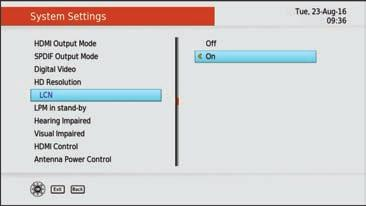 Main Menu - Settings System Settings Select the preference you wish to adjust (this will be highlighted in blue) then press the RIGHT key on your remote to adjust the settings.