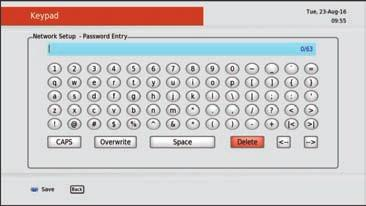 Once a WiFi network is selected, enter in the network password using the arrow keys on the remote control. Press OK to enter each character as it is selected/ highlighted. 5.
