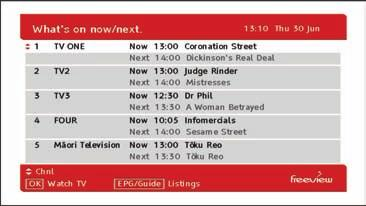 EPG (Electronic Programme Guide) Freeview EPG The Freeview EPG (Electronic Programme Guide) is an on screen TV guide that you can access through the Main Menu.