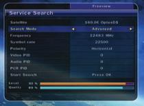 2.3 Service Search Satellite : Select the target satellite for the search. Search Mode : Select one of the following search modes.