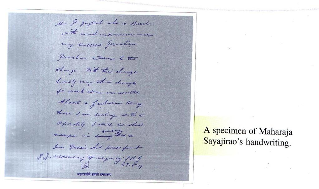English Hand Writing of Sir Sayajirao Gaekwad [1] [1] Book: Maharaja Sayajirao Gaekwad: The