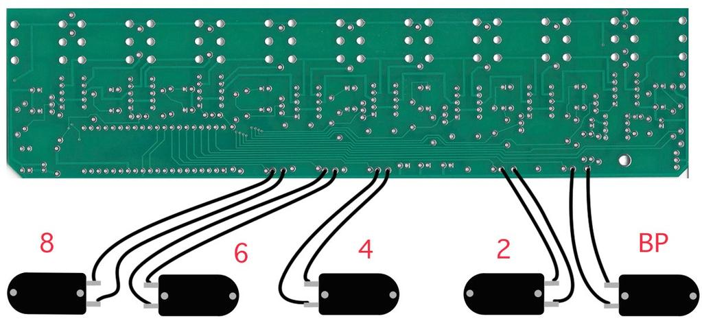 Step 11: Connect the foot switches to the bottom side of the PCB as shown in the diagram below. Use 2.5 (6,5cm) wire to connect foot switch BP and 2.