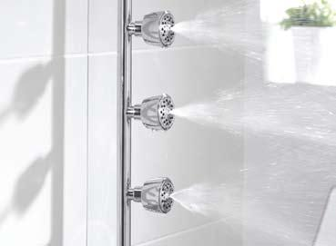 Accompanied with a three-position showerhead and stylish control knobs, the Nene Cool Touch is the ideal family showering solution.