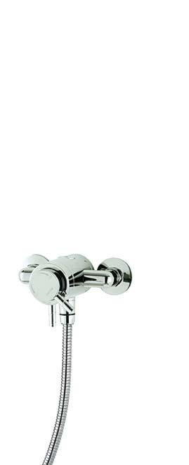 Exposed Mini This space saving exposed mixer features separate flow and temperature controls in a compact