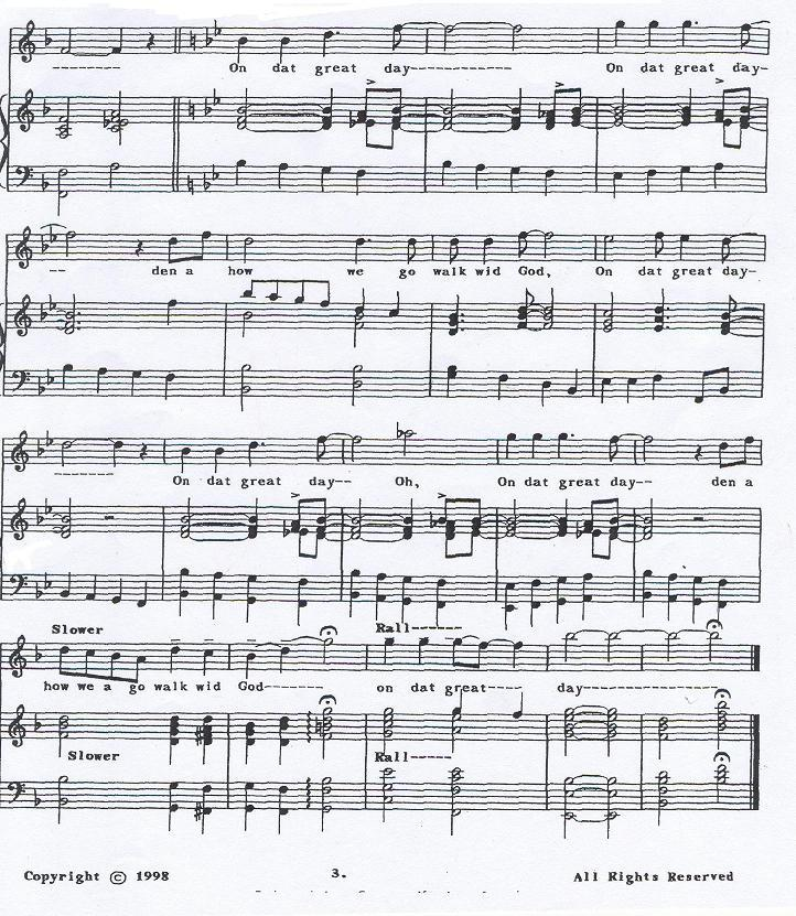 44 tessitural change but certainly the melody being sung at higher pitch levels. This emphasizes the heightened celebratory level present, as well as provides a good climax on the last B.