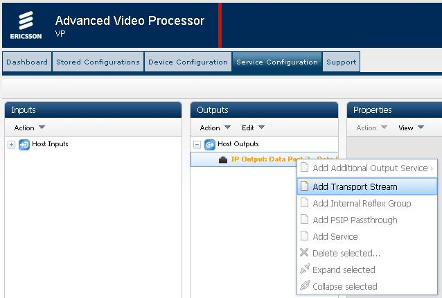 Getting Started Figure 3.7 Service Configuration Web Page Adding a Transport Stream 4. Adjust the Transport Stream properties as required.