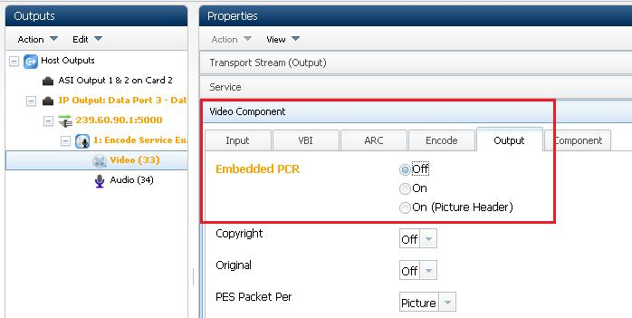 If a separate PCR is required, complete the following steps: 1. Select Off for Embedded PCR in the Video Component > Output tab.