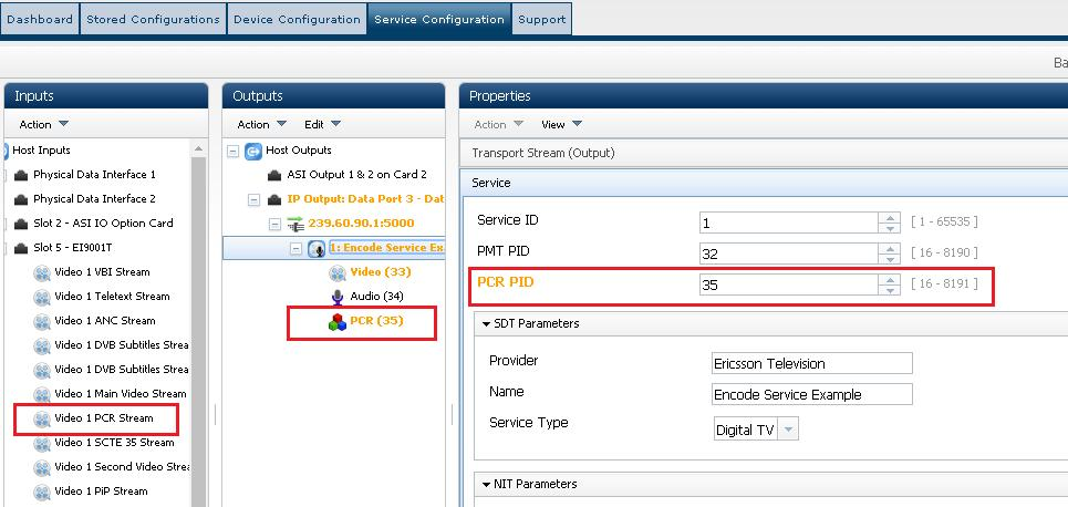 Getting Started 4. Select Outputs > Service n and set the PCR PID to the same value as that set for the component. Figure 3.16 Service Configuration Web Page Setting PCR PID 3.7.