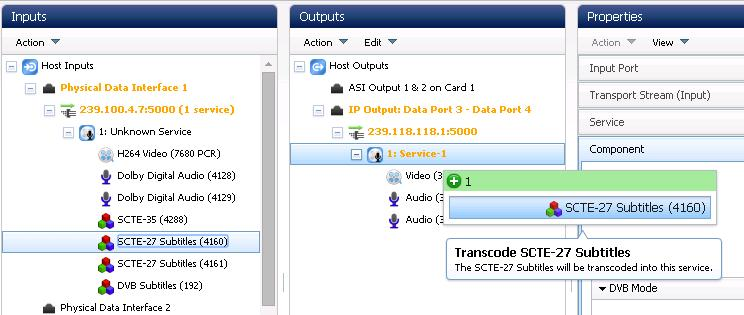 Getting Started 3.7.16 SCTE-27 Subtitle Processing The AVP 4000 is capable of processing up to two SCTE-27 components per output service.